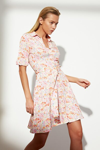 Çok Renkli Kemerli Gömlek Elbise TWOSS21EL0248