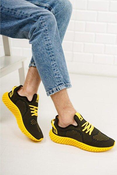 Erkek Siyah Sarı Triko Sneaker Spor Ayakkabı 1020