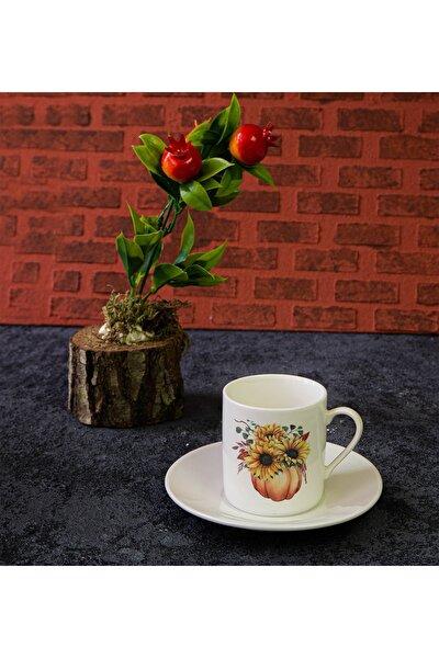 Evorde Serisi Ayçiçeği Ve Balkabağı Desenli 2 Parça Kahve Fincan Takımı