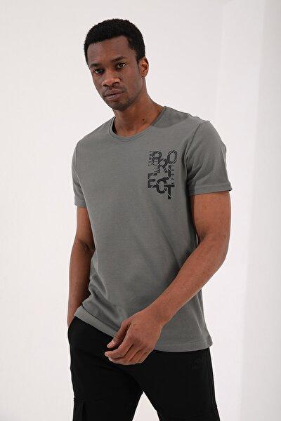 Çağla Erkek Petek Dokulu Yazı Baskılı Standart Kalıp O Yaka T-shirt - 87923
