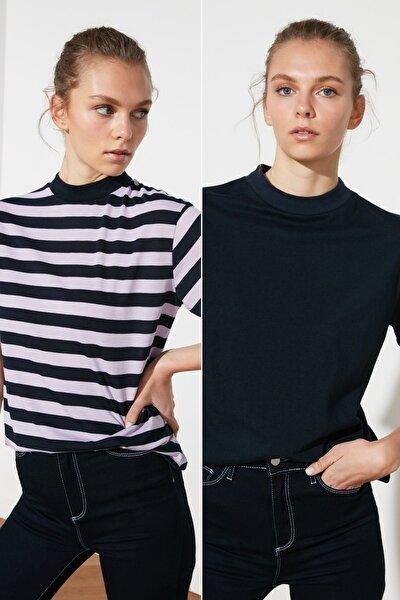 Lila Lacivert Çizgili ve Lacivert Dik Yaka 2'li Paket Basic Örme T-Shirt TWOSS20TS1500