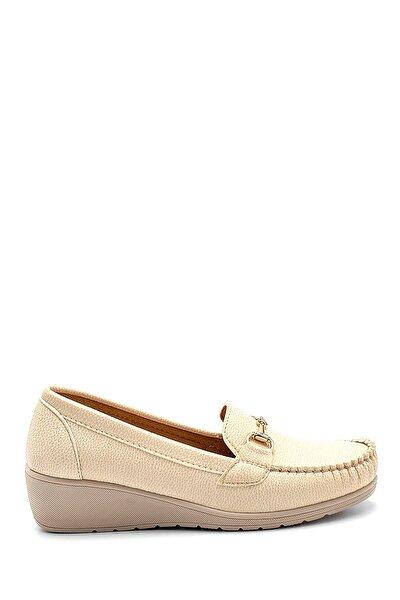 Kadın Bej Dolgu Topuklu Loafer Ayakkabı