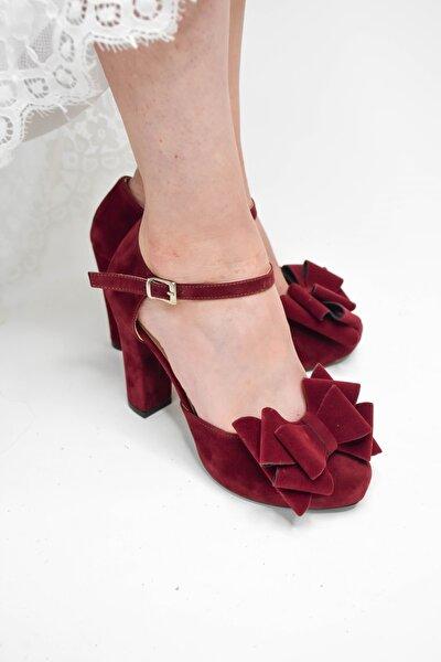 Kadın Bordo Renk Süet Fiyonklu 9 Cm Platform Topuklu Abiye Ayakkabı