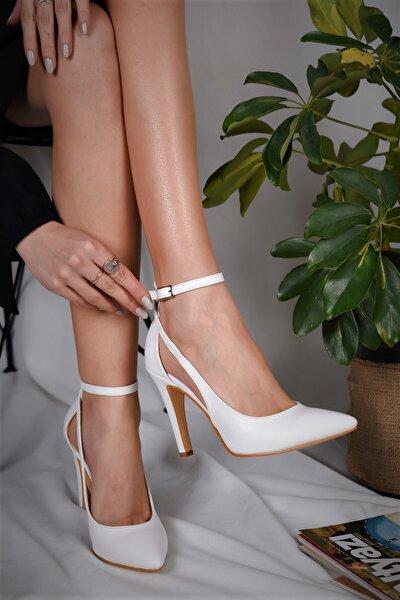 Kadın Stiletto Beyaz Sivri Ökçe