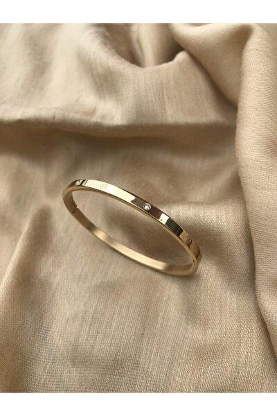 Cartier Model Ince Taşlı 316l Çelik Altın Rengi Bileklik