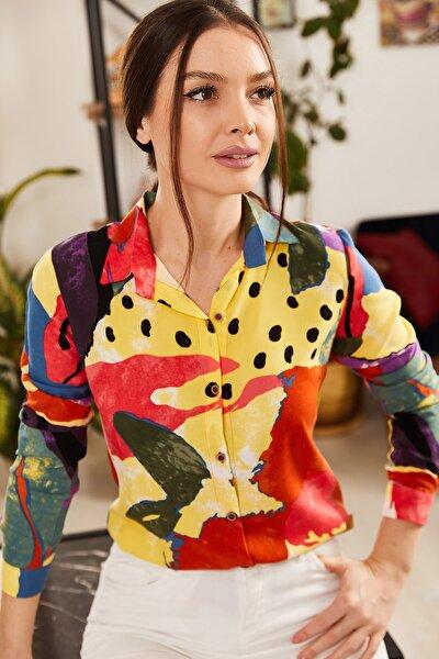 Kadın Kiremit Desenli Uzun Kol Gömlek ARM-21K001183