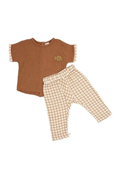 Organik Müslin Kısa Kollu Tişört Pantolon Ikili Bebek Takım Kahverengi