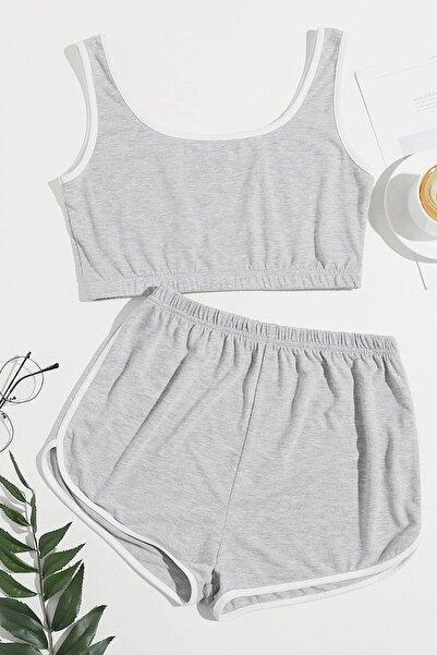 Kadın Gri Askılı Pamuklu Pijama Takımı