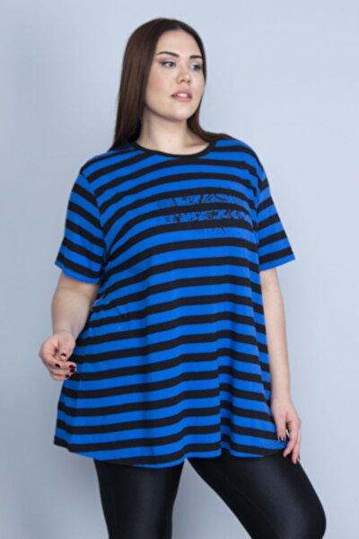 Kadın Saks Pamuklu Kumaş Ön Baskılı Bluz 65N23355