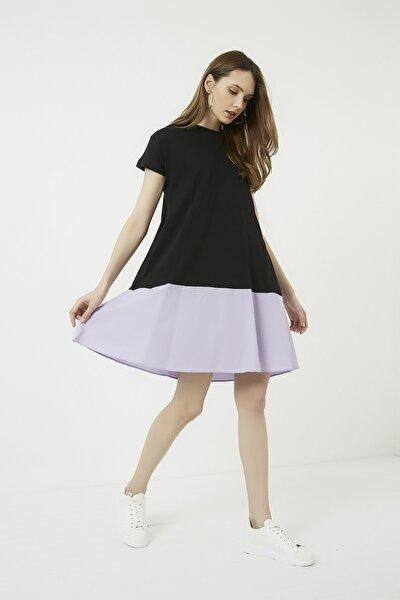Kadın Siyah Çift Renk Salaş Elbise
