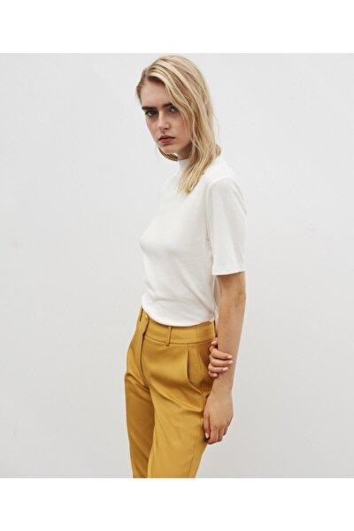 Kadın Sarı Klasik Kesim Pantolon