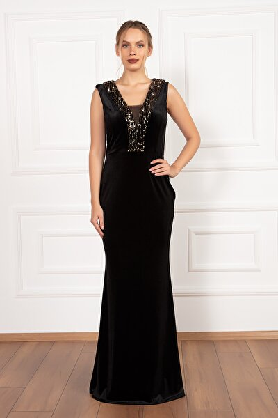 Grace 13188 Pulpayet Detaylı Uzun Kadife Elbise