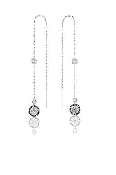 Gümüş Taşlı Zincirli Küpe Nazar Modeli