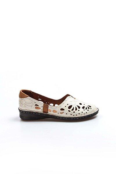 Hakiki Deri Bej Kadın Babet Ayakkabı 046za06