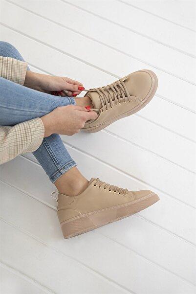 Papel Bayan Deri Spor Ayakkabı Bej