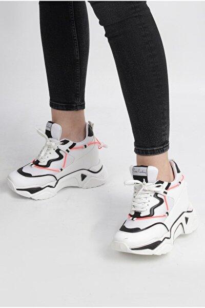 Pıerre Cardın Beyaz Siyah Içten Gizli Topuklu Ayakkabı (Pc-30192)