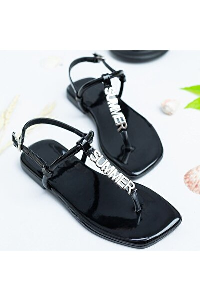 Valenza Mat Rugan Sandalet Siyah