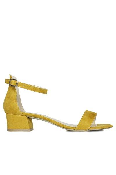 520033 127 Kadın Hardal Süet Topuklu Büyük & Küçük Numara Ayakkabı