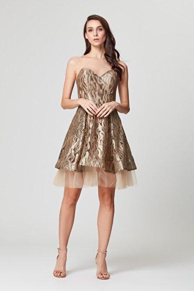 Gold Transparan Kısa Abiye Elbise
