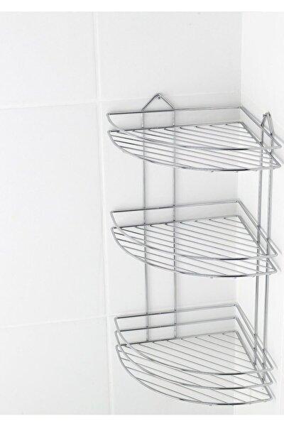 Krom Üç Katlı Banyo Köşeliği Krom Süngerlik Ek-03