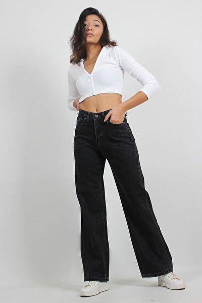 Kadın Siyah Yüksek Bel Salaş Bol Paça Jeans