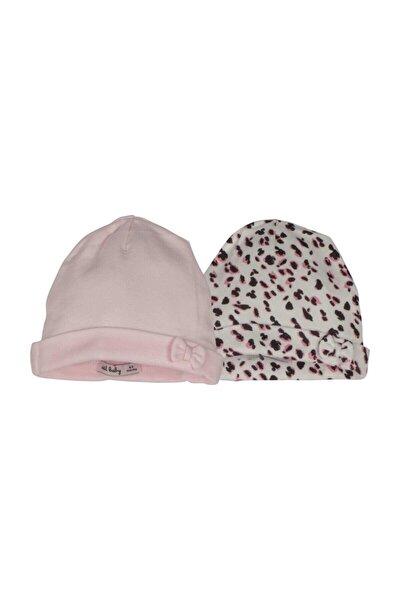 2'li Kız Bebek Beyaz Pembe Şapka 13557