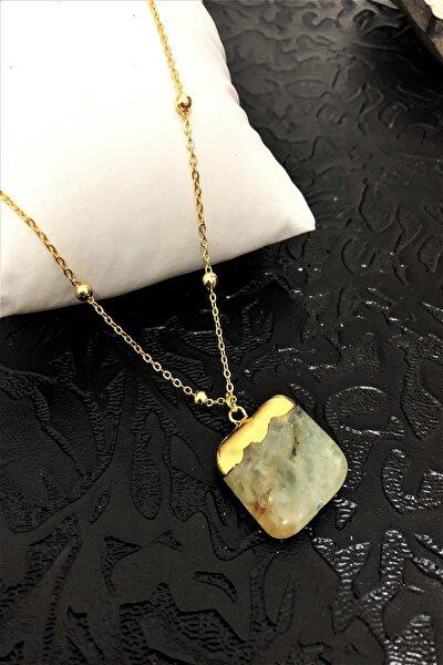 Dr Stone Golden Zebercet Taşı 22k Altın Kaplama El Yapımı Kadın Kolye Tkrb1