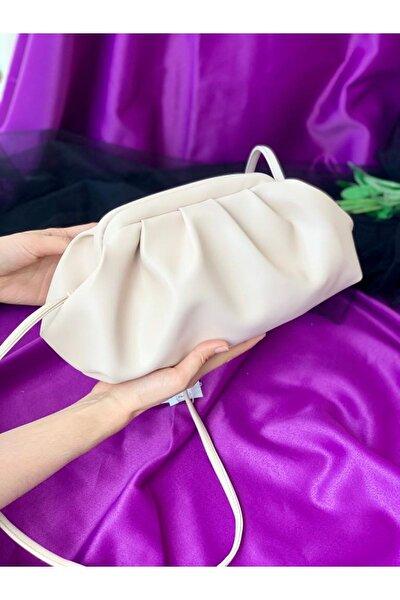 Büzgülü Model Bayan Çapraz Çanta-beyaz