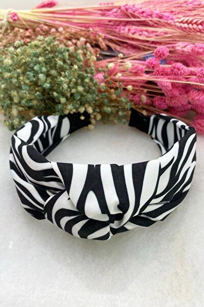 Kadın Siyah Beyaz Zebratemalı Düğümlü Taç Saç Bandı