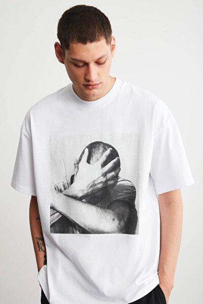 ELVIS Erkek Beyaz Oversize Önü Baskılı T-shirt