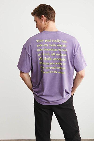 RUSH Erkek Mor Oversize Önü Ve Arkası Baskılı T-shirt
