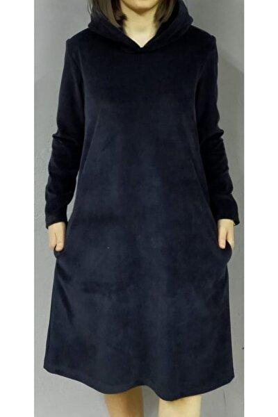 Kapşonlu Kadife Elbise