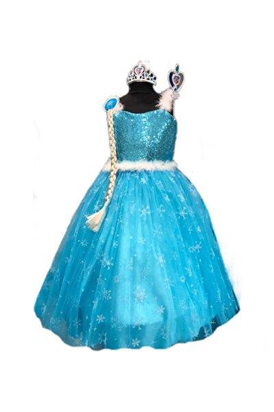 Elsa Karlar Ülkesi Frozen Kız Çocuk Kostüm Tarlatanlı Gelinlik Elbise Taç Asa Saç
