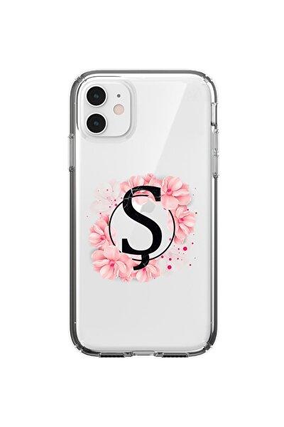 Iphone 11 Uyumlu Pembe Çiçek Desen Ş Harfli Şeffaf Kılıf