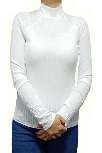 Kadın Beyaz Yarım Boğazlı Body