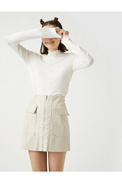 Kadın Beyaz Uzun Kollu Dik Yaka T-Shirt