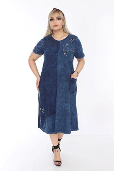 Mavi Yıkamalı Viskon Elbise
