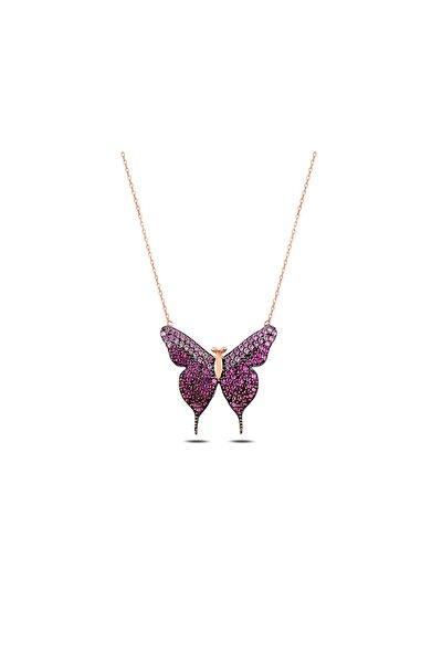 925 Ayar Gümüş Pembe Taşlı Kelebek Kolye