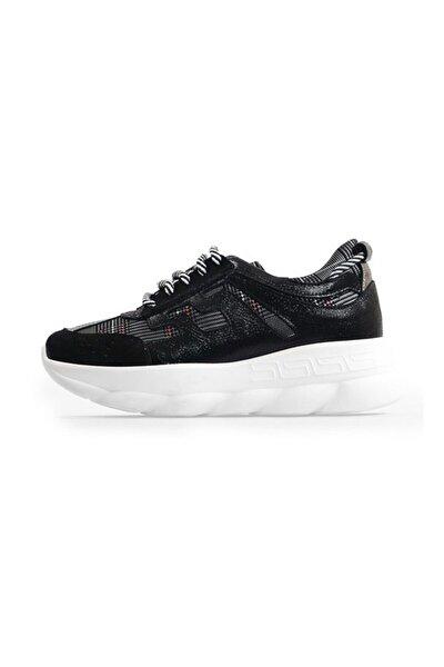 Siyah Bağcıklı Taban Detaylı Spor Ayakkabı