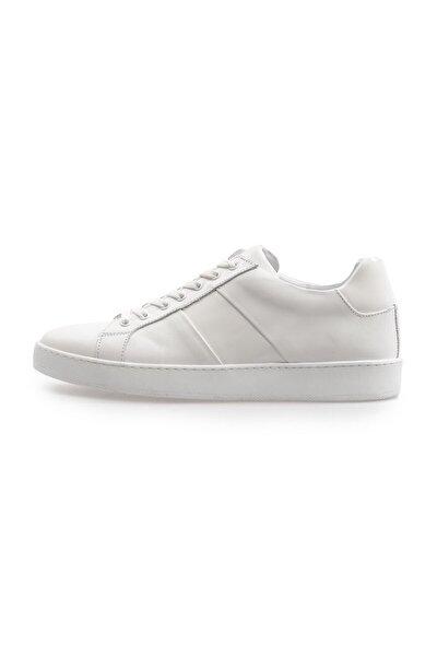 Beyaz Deri Bağcıklı Erkek Sneakers