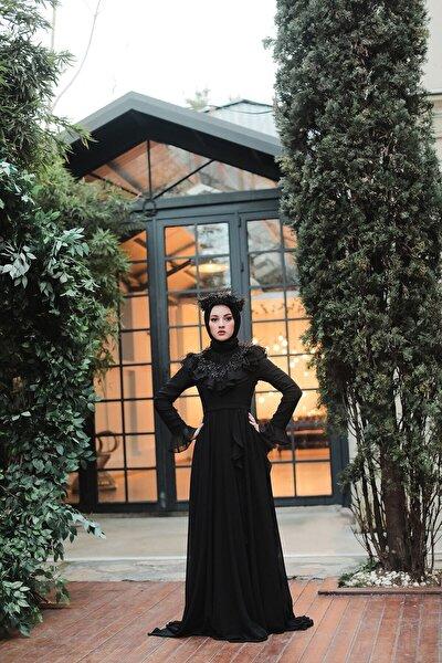 Siyah Volanlı Şifon Abiye Elbise