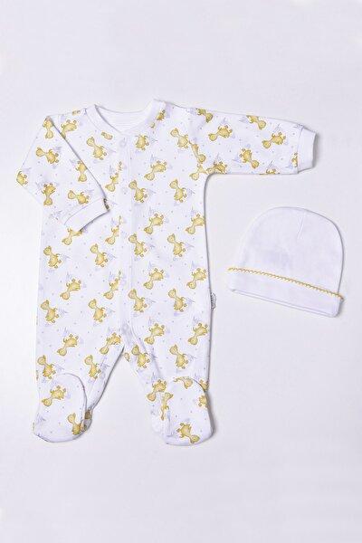 Unisex Bebek Beyaz Organik Ördek Baskılı 2'li Takım