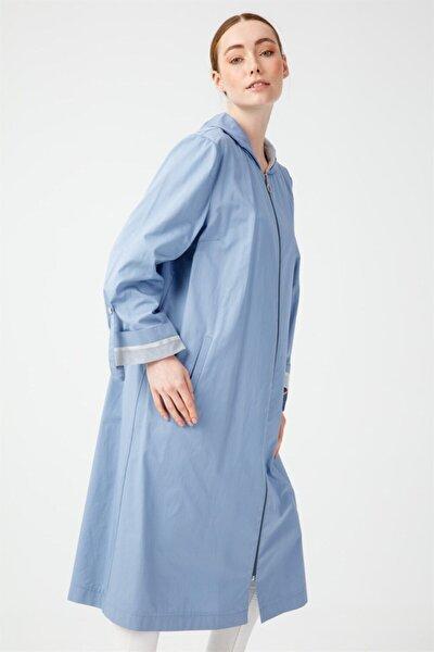Büyük Beden Kapüşonlu Trenchcoat Mavi