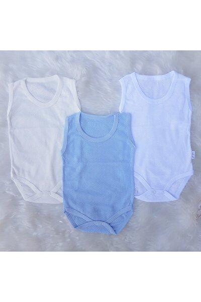 Erkek Bebek Mavi -Beyaz Nayinom 3lü Jakarlı Zıbın&body Çıtçıtlı Badi 1-36 Ay