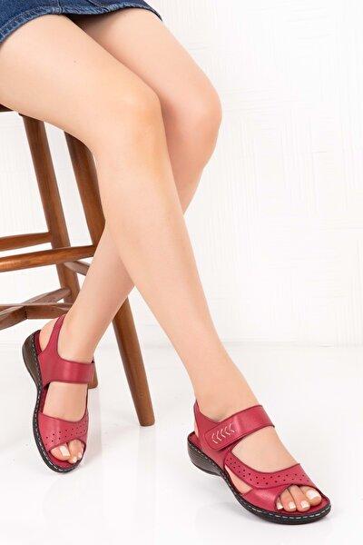 Deri Sandalet Bordo 37 Iz.036
