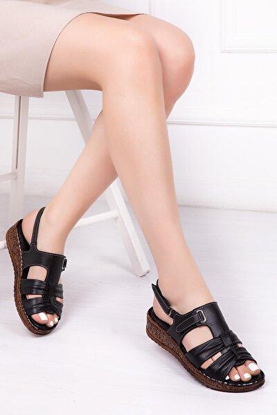 Hakiki Deri Siyah Kadın Deri Sandalet Crz-0542