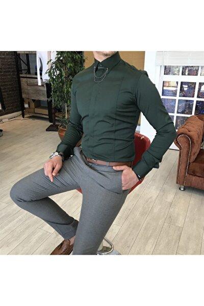 Italyan Kesim Slim Fit Erkek Saten Yeşil Zincirli Gömlek T3509