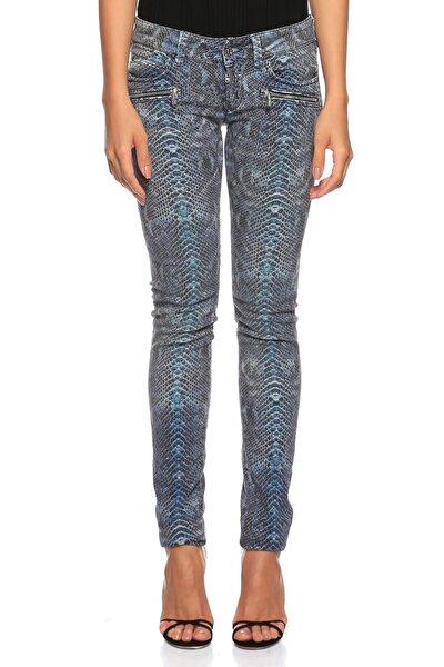Yılan Derisi Desenli Mavi Jean Pantolon