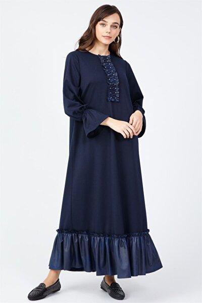 Deri Kombinli Elbise Lacivert
