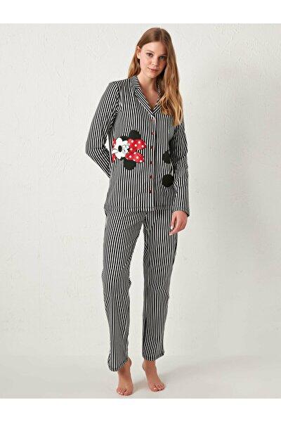 Mickey Mouse Kadın Optik Beyaz Bask Lu8 Pijama Takımı